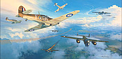 Hurricanes into Battle, 249 Squadron attacks Dornier Do17 of KG3 - Aviation Art by Mark Postlethwaite