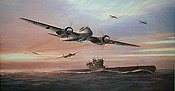 Kameraden, Junkers Ju-88 C-6 and U-Boot art print by Mark Postlethwaite