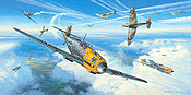 Messerschmitts into Battle - Me 109 Aviation Art print by Mark Postlethwaite