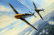 RLM Messerschmitt Me 109 JG 27 and RAF Spitfire aircraft art print by Mark Postlethwaite