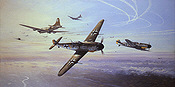 Regensburg No Place to Hide, Me-109G and B-17 aviation art print by Mark Postlethwaite