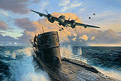 Second Chance, De Havilland Mosquito attack on U-998 art print by Mark Postlethwaite