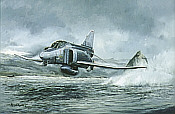Phantom Thunder, F4 low level flight Pyramid Lake aviation art print by Michael Rondot