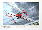 The Red Arrows - Aviation Art print by Michael Rondot, signed by the team's pilots