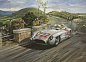 1955 Mille Miglia, Mercedes 300 SLR Stirling Moss motorsport art print by Michael Turner
