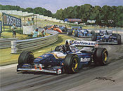 Closing the Gap, Damon Hill Williams F1 motorsport art print by Michael Turner