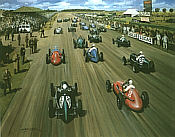 Historic Start, GP Silverstone 1948 motorport art print by Michael Turner
