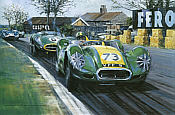 Archie and the Lister Jaguar at Aintree 200 art print by Nicholas Watts