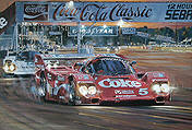 Duel at Sunset, Coca-Cola Porsche 962 motorsport art by Nicholas Watts