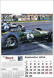 Formula-1 Grand Prix Calendar 2014, Jim Clark in the Lotus and Graham Hill in the BRM