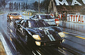 Formation Finish - Le Mans 1966, Chris Amon and Bruce McLaren GT40 MkII motorsport art print by Nicholas Watts