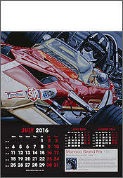 Grand Prix F1 Art Calendar 2016 Juli Graham Hill - by Colin Carter