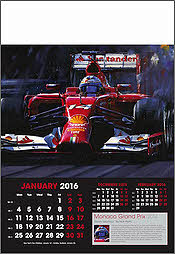 Grand Prix Formula 1 Art Calendar 2016 January - Alonso Ferrari by Nicholas Watts