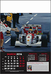 Grand Prix Formula 1 Art Calendar 2016 March Ayrton Senna - by Colin Carter