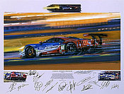 Le Mans 2016 - Anniversary Victory for Ford, Motorsport Art by Nicholas Watts with Team Signatures