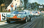Race to the Line, Ford GT40 Le Mans motorsport art print by Nicholas Watts