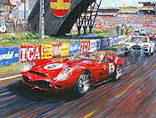 The last of the Redheads - Ferrari 250 Testa Rossa at Le Mans 1962, Motorsport Art by Nicholas Watts