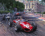 Through the Shadows - Monaco Grand Prix 1961 - Ferrari 156 driven by Richie Ginther - Motorsport Art by Nicholas Watts