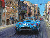 Thunder in the Streets, Shelby AC Cobra Targa Florio art print by Nicholas Watts