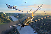 Fast Company - Focke-Wulf Fw 190 D9 and P-51 Mustang aviation art by Nicolas Trudgian