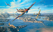 Nicolas Trudgian Fortress Malta, Spitfire, Re-2001 and Me-109 Aviation Art print