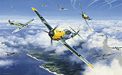 High Summer High Battle, Me 109 and Spitfire aviation art print by Nicolas Trudgian