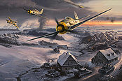 Slowing the Red Tide, Fw-190 JG 51 aviation art print by Nicolas Trudgian