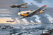 Stalingrad, Me-109 and He-111 aviation art print by Nicolas Trudgian