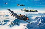 Storm Force, Fw-190A-8 of JG3 Udet and B-17G of 483rd BG - Aviation Art by Nicolas Trudgian