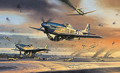 The Battle for New Years Day, P-51D Mustangs Asch airfield aviation art print by Nicolas Trudgian