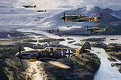The Big Guns, Messerschmitt Bf 109 and Stuka aviation art by Nicolas Trudgian