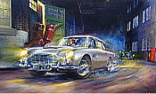 Barreling Along - James Bond Aston Martin DB5 Automobilkunst von Paul Dove