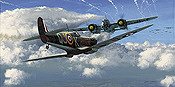 Spitfire and Dornier 217 art print by Philip E West