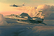 Eagle Intercept, F-15 Eagles and Tupolev Tu-95 aviation art print by Philip E West