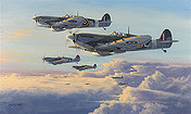 Spitfires - High Patrol, aviation art print by Philip E West