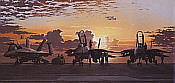 Storm Warning, F-14 Tomacts and F/A-18 Hornets USS Saratoga naval aviation art print by Philip E West