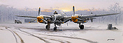 Winter of '44, P-38 Lightning aviation art print by Philip E West