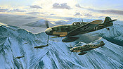 Arctic Hunters, Me-109 Aviation Art by Richard Taylor