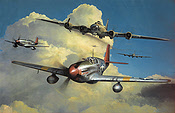 Red Tail Escort, Tuskegee P-51B Mustang and B-17 aviation art print by Richard Taylor