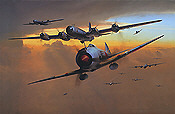 Threatening Skies, Ki-44 and B-29 aviation art print by Richard Taylor