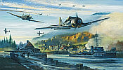 Fw-190 and Spitfire aviation art print by Robert Bailey
