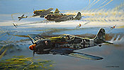 Crossfire, FW-190 JG-3 aviation art by Robert Bailey