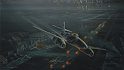 Dark Defenders, Me-262 night sortie aviation art print by Robert Bailey