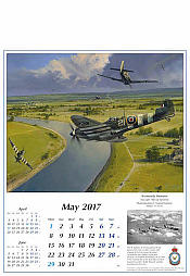 Airplane Calendar 2017 May Spitfire and FW190 Aviation Art by Robert Taylor