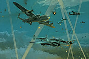 Duel in the Dark, Me-110 and Lancaster aviation art print by Robert Taylor