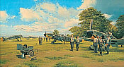 Eagles on the Channel Front, Me 109F and FW 190A aviation art print by Robert Taylor