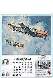 Airplanes Calendar Reach for the Sky 2018 Me-109 February Aviation Art by Robert Taylor