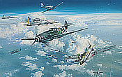 Headlong Into the Clash - Me-109, P-51D and B-17 Aviation Art by Robert Taylor