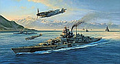 Knights Move, BattleshipTirpitz and Me-109 naval art print by Robert Taylor