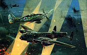 No Turning Back, Fw-190 and Avro Lancaster aviation art print by Robert Taylor